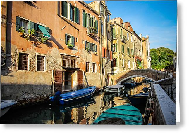 Quite Greeting Cards - Venice Canal in the Morning Greeting Card by Anthony Doudt