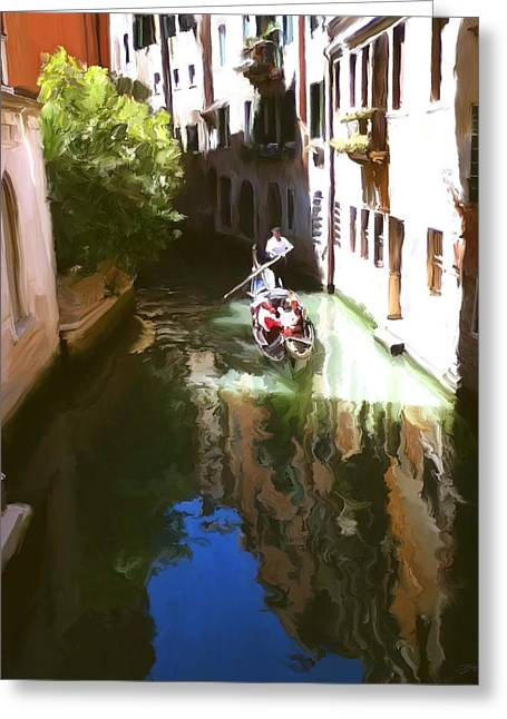 Reflecting Water Digital Art Greeting Cards - Venice Canal Greeting Card by Paul Tagliamonte
