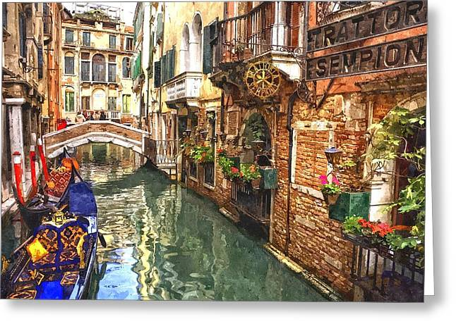 Venice Canal Serenity Greeting Card by Gianfranco Weiss