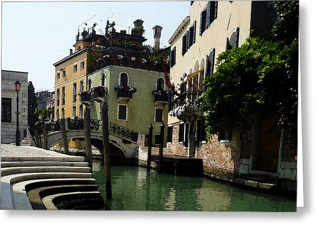 Travel Sketch Italy Greeting Cards - Venice Canal Summer in Italy Greeting Card by Irina Sztukowski