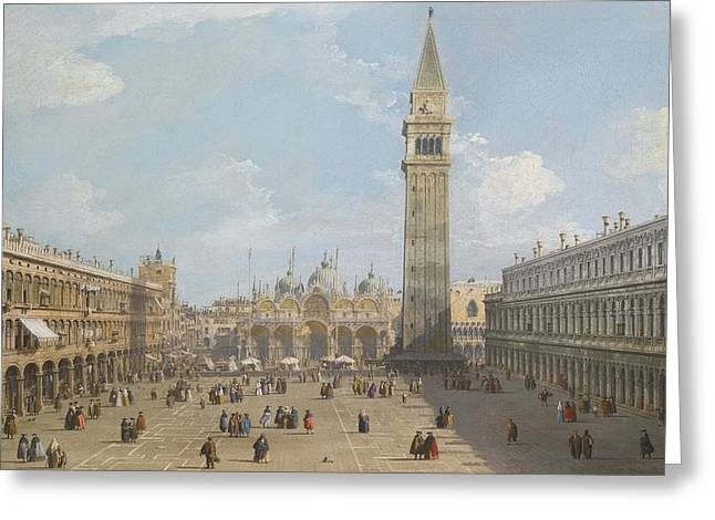 The Piazza Greeting Cards - Venice Greeting Card by Canaletto