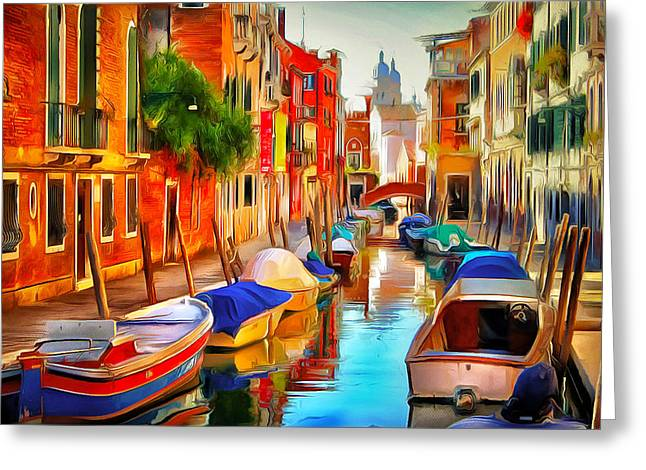Gondolier Greeting Cards - Venice Canals 20 Greeting Card by Yury Malkov