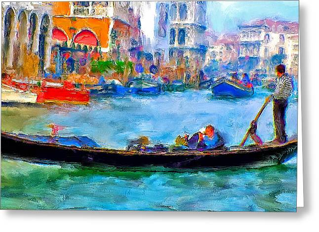 Venice Canals Gondola Greeting Card by Yury Malkov