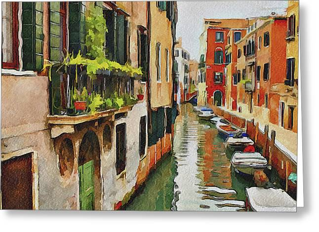 Gondolier Digital Art Greeting Cards - Venice Canals Watercolor 19 Greeting Card by Yury Malkov