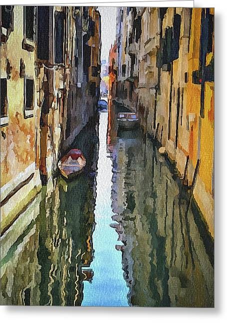Gondolier Greeting Cards - Venice Canals Watercolor 3 Greeting Card by Yury Malkov