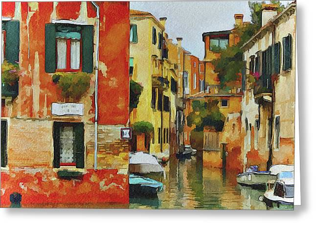 Gondolier Digital Art Greeting Cards - Venice Canals Watercolor 7 Greeting Card by Yury Malkov