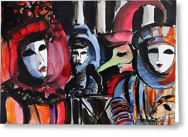 Venice Carnival 1 Greeting Card by Mona Edulesco