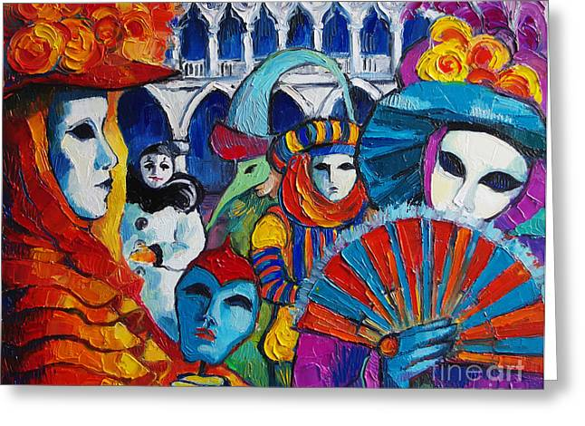 Venetian Canals Greeting Cards - Venice Carnival Greeting Card by Mona Edulesco