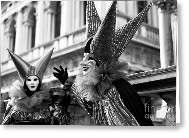 Jester Greeting Cards - Venice Carnival Jester Greeting Card by John Rizzuto