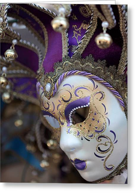 Jester Greeting Cards - Venice carnival mask Greeting Card by Paul Cowan
