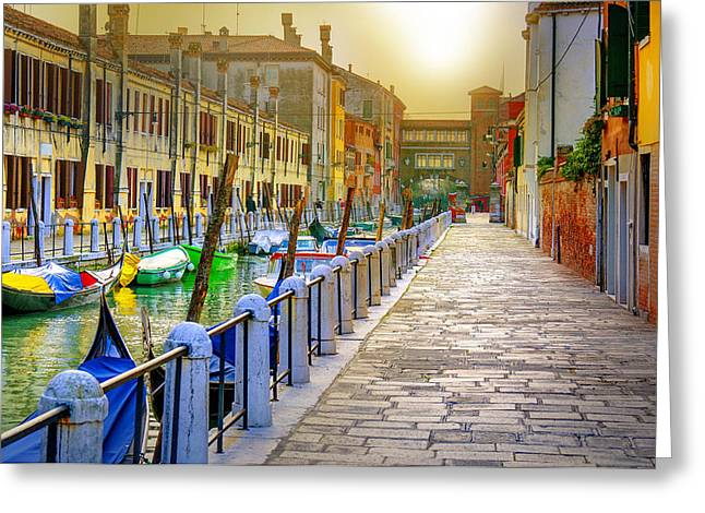 Historic Ship Greeting Cards - Venice channel photo Greeting Card by Martin Joyful
