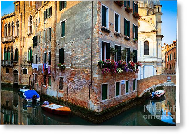 Mediterranean Landscape Greeting Cards - Venice Corner House Greeting Card by Inge Johnsson