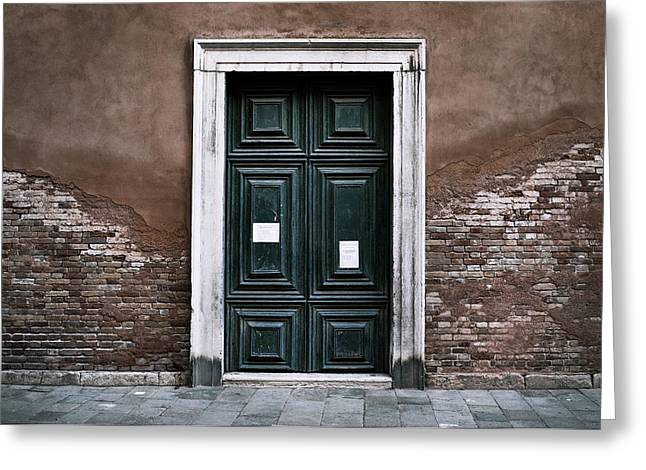 Wooden Building Greeting Cards - Venice Doorway Greeting Card by Stuart Price