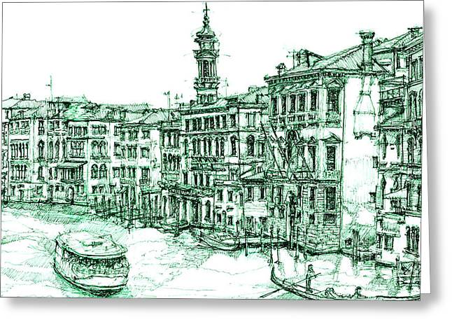 Pen And Ink Framed Prints Greeting Cards - Venice drawing in green Greeting Card by Lee-Ann Adendorff