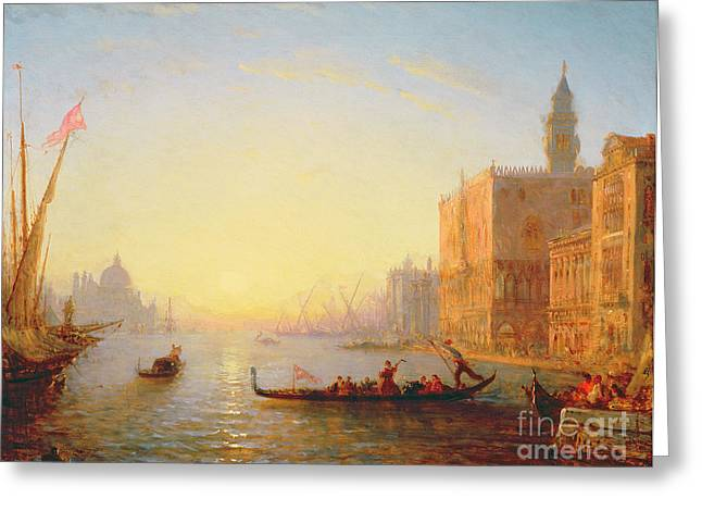 Venetian Architecture Greeting Cards - Venice Evening Greeting Card by Felix Ziem