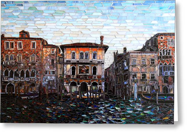 Cityscape Glass Art Greeting Cards - Venice Evening Greeting Card by Sandra Bryant