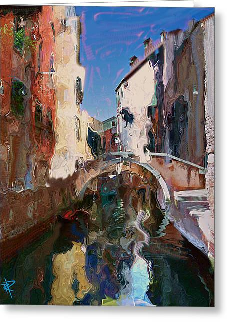 Europe Mixed Media Greeting Cards - Venice Foot Bridge Greeting Card by Russell Pierce