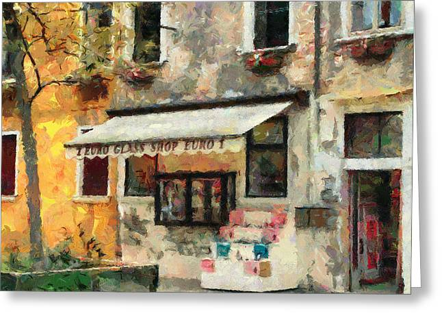 Venice Tour Greeting Cards - Venice Glass Shop Greeting Card by Yury Malkov