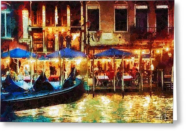 Italian Islands Greeting Cards - Venice Glow Greeting Card by Mo T