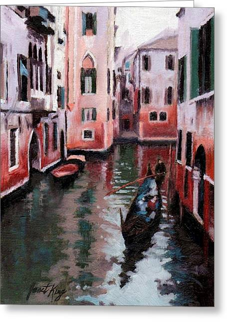 Janet King Paintings Greeting Cards - Venice Gondola Ride Greeting Card by Janet King