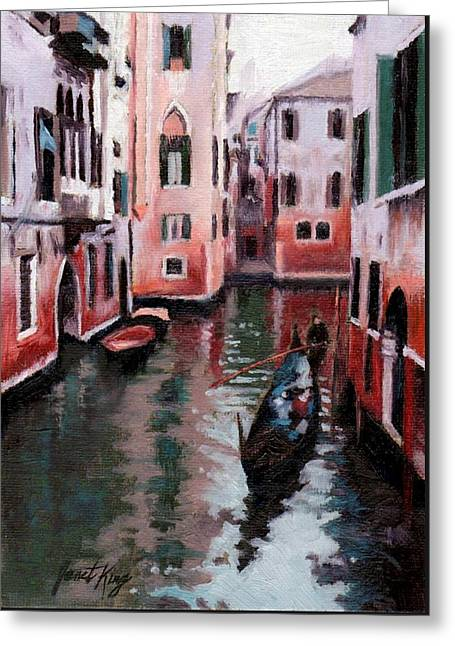Janet King Greeting Cards - Venice Gondola Ride Greeting Card by Janet King