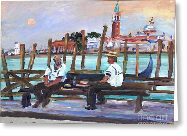Recently Sold -  - Sea Moon Full Moon Greeting Cards - Venice Gondola with full moon Greeting Card by Valerie Freeman