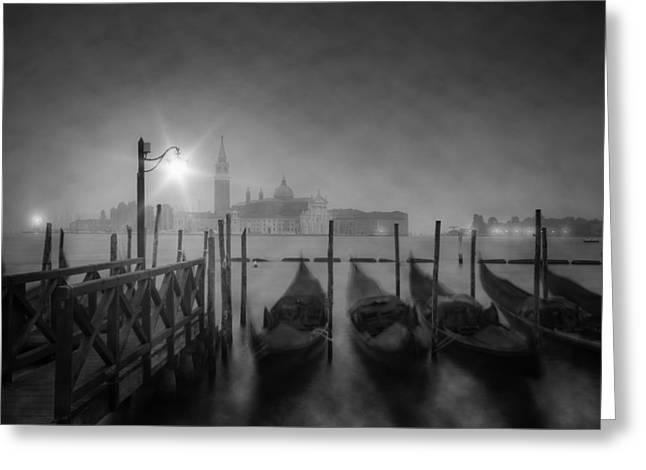 Venice Gondolas A Foggy Nightscape Greeting Card by Melanie Viola