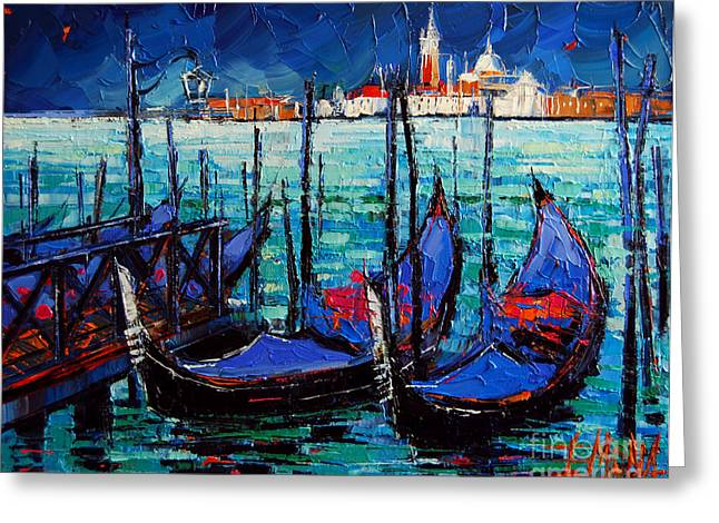 Emona Greeting Cards - Venice Gondolas And San Giorgio Maggiore Greeting Card by Mona Edulesco