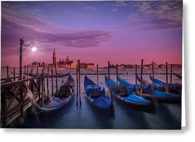Night Lamp Greeting Cards - VENICE Gondolas at Sunset Greeting Card by Melanie Viola