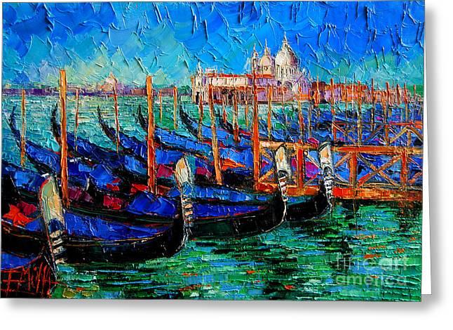 Venice - Gondolas - Santa Maria Della Salute Greeting Card by Mona Edulesco