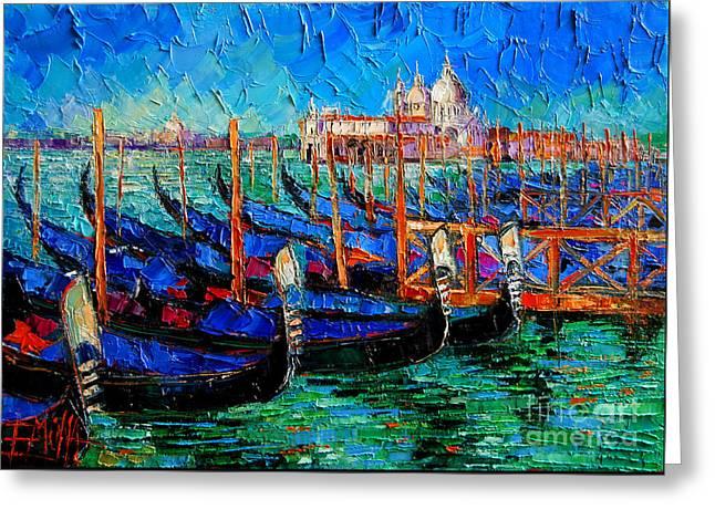 Emona Greeting Cards - Venice - Gondolas - Santa Maria Della Salute Greeting Card by Mona Edulesco