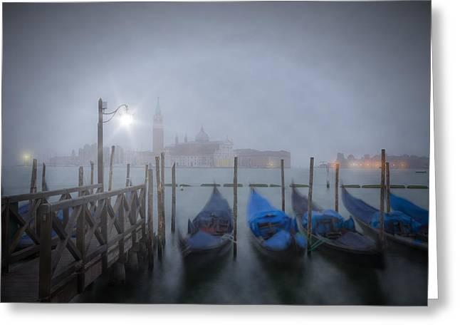 Venice Gondolas In The Mist Greeting Card by Melanie Viola