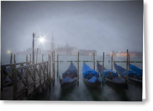 Fog Mist Greeting Cards - VENICE Gondolas in the Mist Greeting Card by Melanie Viola