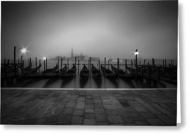 Venice Gondolas On A Foggy Morning Greeting Card by Melanie Viola