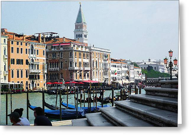 Venice Gondolas On Canal Grande Greeting Card by Irina Sztukowski