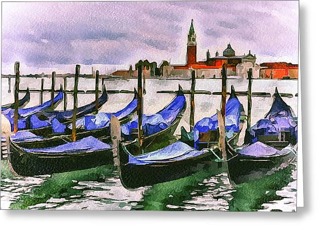 Gondolier Greeting Cards - Venice Gondolas Parking Greeting Card by Yury Malkov