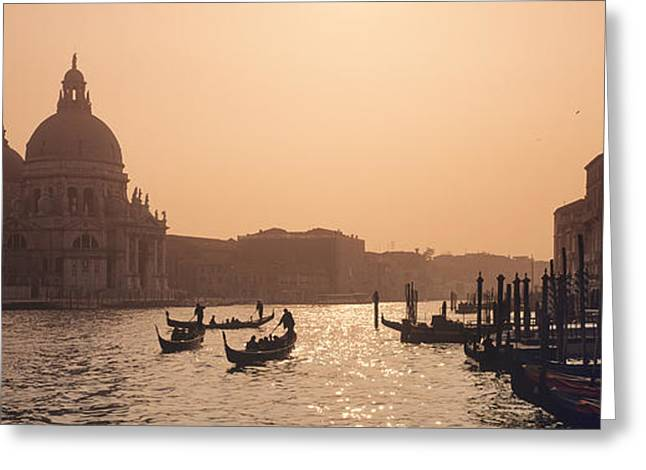 Italian Sunset Greeting Cards - Venice Grand Canal Greeting Card by Derek Croucher
