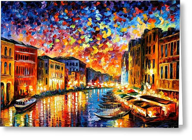 Oil Knife Greeting Cards - Venice Grand Canal - PALETTE KNIFE Landscape City Oil Painting On Canvas By Leonid Afremov Greeting Card by Leonid Afremov
