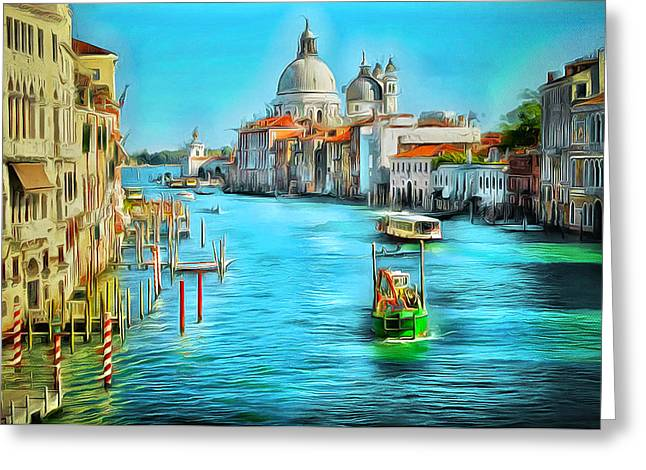 Gondolier Greeting Cards - Venice Grand Canal Greeting Card by Yury Malkov