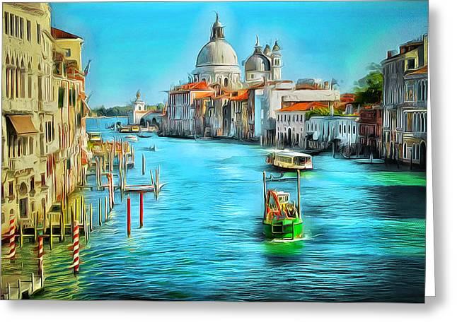 Gondolier Digital Art Greeting Cards - Venice Grand Canal Greeting Card by Yury Malkov