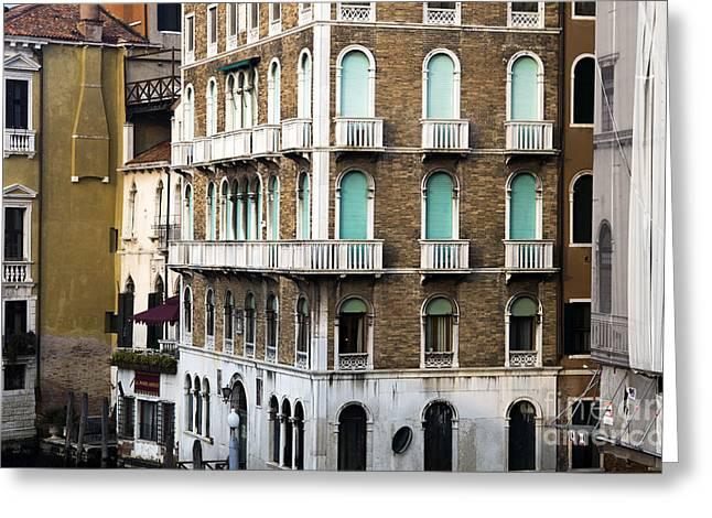Venetian Balcony Greeting Cards - Venice Green Windows 2015 Greeting Card by John Rizzuto