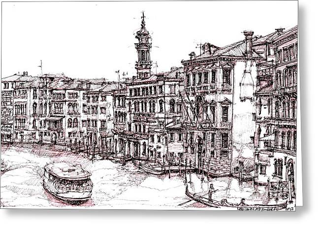 Pen And Ink Drawing Greeting Cards - Venice in pen and ink Greeting Card by Lee-Ann Adendorff