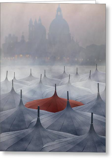 Bleak Greeting Cards - Venice in rain Greeting Card by Joana Kruse