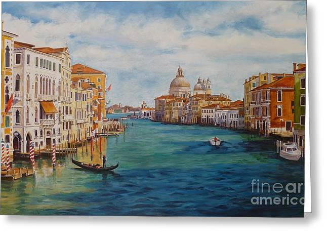 Italian Riveria Greeting Cards - Venice in the Afternoon Greeting Card by Shelley Cost
