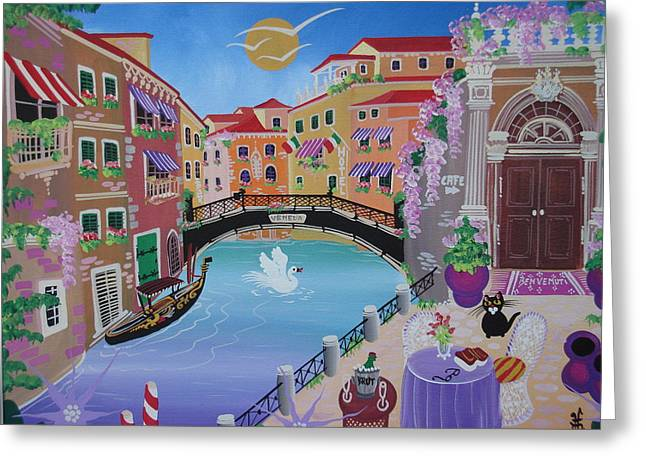 Italy Canal Greeting Cards - Venice, Italy, 2010-12 Acrylic On Canvas Greeting Card by Herbert Hofer