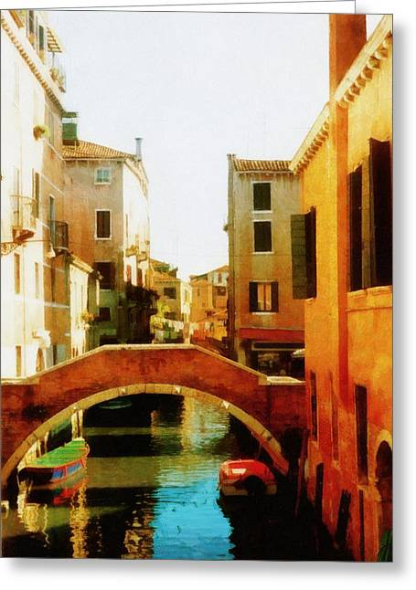 Photograph Greeting Card featuring the photograph Venice Italy Canal With Boats And Laundry by Michelle Calkins