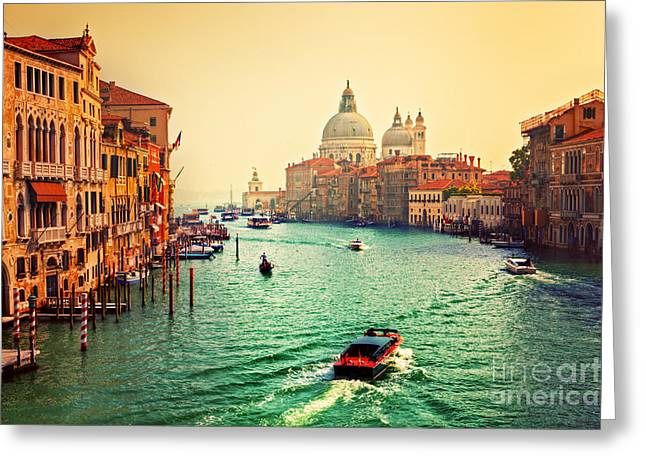 Accademia Greeting Cards - Venice Italy Grand Canal and Basilica Santa Maria della Salute at sunset Greeting Card by Michal Bednarek
