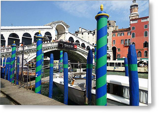 Travel Sketch Italy Greeting Cards - Venice Italy Ponte Di Rialto  Greeting Card by Irina Sztukowski