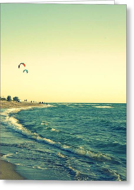 Kite Boarding Greeting Cards - Venice Kite Surfing Greeting Card by Laurie Perry