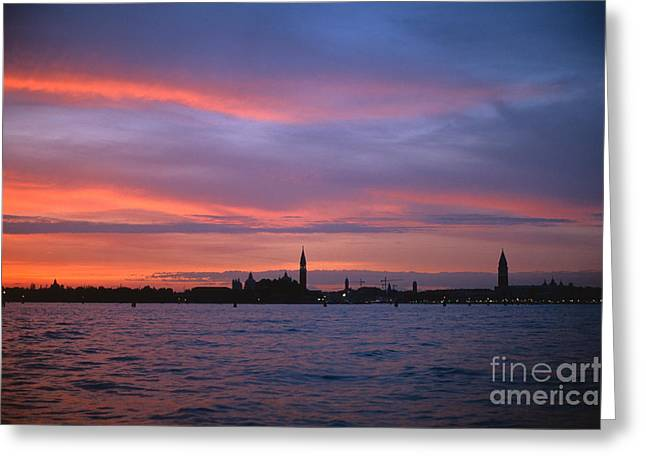 Italian Sunset Greeting Cards - Venice Lagoon Greeting Card by Chris Selby